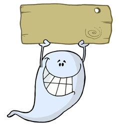 Grinning Ghost Holding Up A Blank Wooden Sign vector image vector image