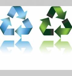recycle symbol and reflection vector image vector image
