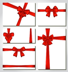 Set of red gift bows for design packing vector image