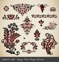 set vintage floral elements vector image