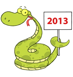 Snake Cartoon Character With Text 2013 vector image vector image