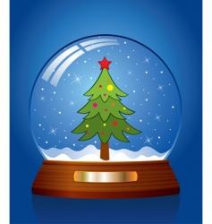 snow globe with Christmas tree vector image