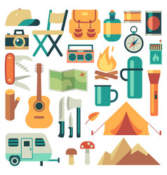 tourists equipment and travel accessories vector image