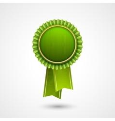 Green award badge with ribbons Eco vector image