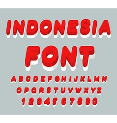 Indonesia font Indonesian flag on letters National vector image