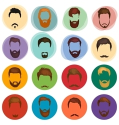 Mans hair set of beards and mustaches vector