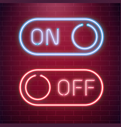on and off lamp neon light toggle switch button vector image