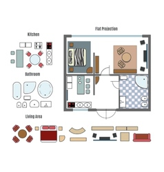 projection and furniture icons vector image vector image