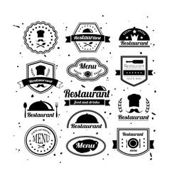 Retro restaurant logotypes set vector
