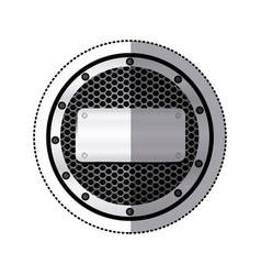 sticker circular metallic frame with grill vector image vector image