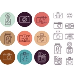 Vintage camera element icon set vector image