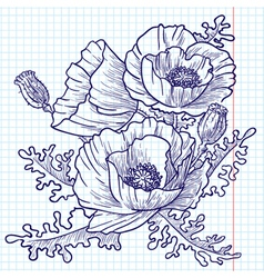 bouquet of red poppies doodle version vector image vector image