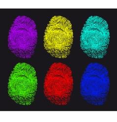 colored fingerprints vector image vector image