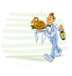 waiter serving meal vector image