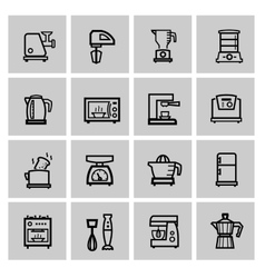 black household icon set vector image vector image