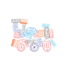 bright colorful immigration stamps arranged in vector image