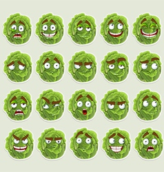 Cute cartoon green cabbage smile vector image vector image