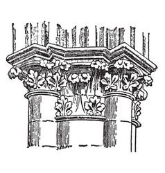 gothic capitals shaft vintage engraving vector image vector image