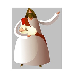 Jesus Christ holding sheep vector image vector image
