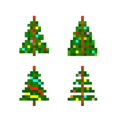 set of four pixel art christmas tree vector image