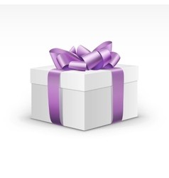 White Gift Box with Light Purple Violet Ribbon vector image vector image