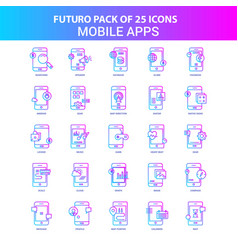 25 blue and pink futuro mobile apps icon pack vector