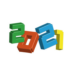 3d numerals 2021 made colorful toy plastic sign vector image