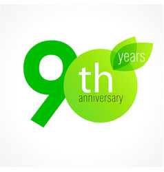 90 anniversary green logo vector