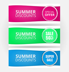 a set of templates for banners seasonal discounts vector image