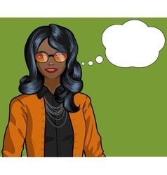 African woman pop art comic vector