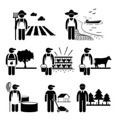 agriculture plantation farming poultry fishery vector image