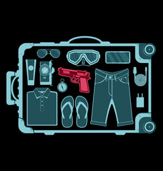 airport security scanner conveyor with luggage vector image