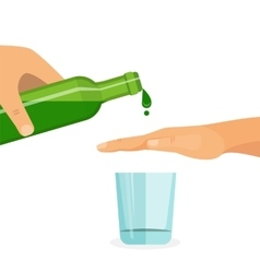 Alcohol abuse concept Hand prevents filling the vector