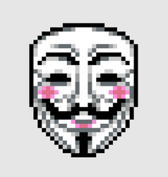 Anonymous mask icon in pixel art style vector