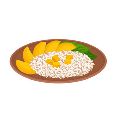 Appetizing thai food rice with mango slices vector