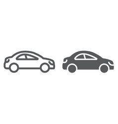 auto trip line and glyph icon automobile and vector image