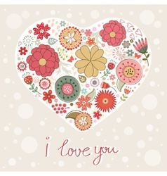 Beautiful card with floral heart vector image