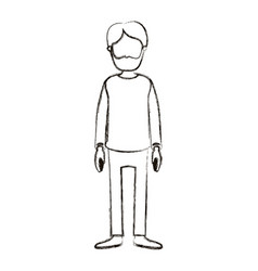blurred silhouette cartoon full body faceless man vector image