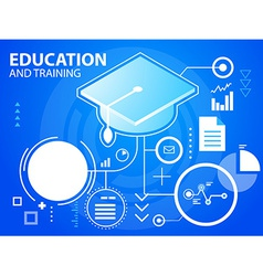 bright graduate cap on blue background for b vector image