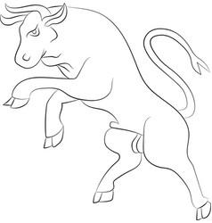 bull rebelling outline vector image