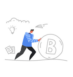 Businessman pushing bitcoin money crypto currency vector