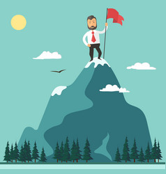 Businessman with flag on a mountain peak success vector