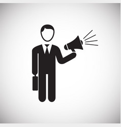 businessman with megaphone on white background vector image