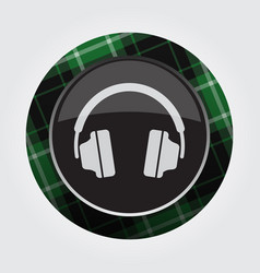 Button with green black tartan - headphones icon vector