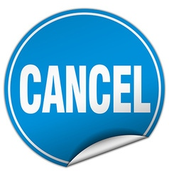 cancel round blue sticker isolated on white vector image