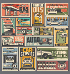 Car service and auto parts retro posters vector