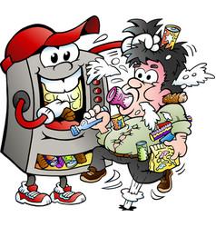Cartoon a vending machine feeding a customer vector