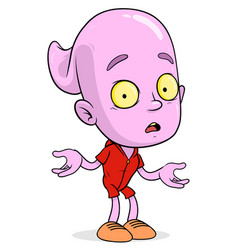 Cartoon funny scary violet ghost boy character vector
