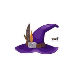 cartoon witch hat icon purple headwear vector image