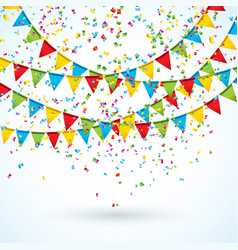Celebrate with party flags and vector